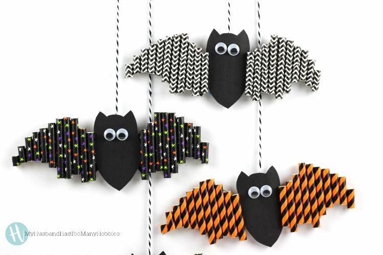 Halloween Paper Straw Bats